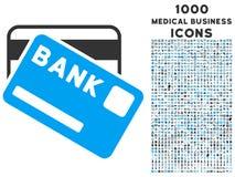 Icono de las tarjetas de banco con 1000 iconos médicos del negocio Foto de archivo libre de regalías