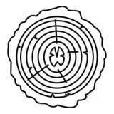 Icono de los anillos de árbol, estilo del esquema stock de ilustración