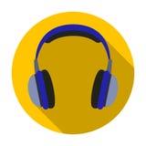Icono de los auriculares del vintage en estilo plano aislado en el fondo blanco Ejemplo del vector de la acción del símbolo del e Imagen de archivo libre de regalías