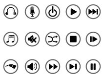 Icono de los botones de los media Imagen de archivo libre de regalías