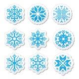 Icono de los copos de nieve fijado en fondo blanco y negro Foto de archivo libre de regalías