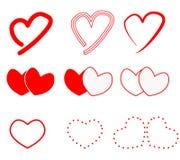 Icono de los corazones en el fondo blanco Muestra de los corazones Fotos de archivo libres de regalías