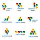 Icono de los cubos y diseño de la insignia Foto de archivo