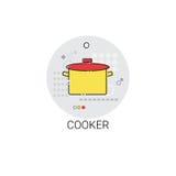 Icono de los dispositivos de Pan Cooking Utensils Kitchen Equipment de la cocina Foto de archivo libre de regalías
