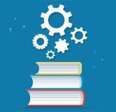 Icono de los engranajes en el ejemplo del vector del diseño del icono de los libros, conceptos de la educación Imagen de archivo libre de regalías