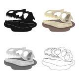 Icono de los fósiles de dinosaurio en estilo de la historieta aislado en el fondo blanco Dinosaurios y vector prehistórico de la  libre illustration