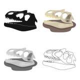 Icono de los fósiles de dinosaurio en estilo de la historieta aislado en el fondo blanco Dinosaurios y vector prehistórico de la  ilustración del vector