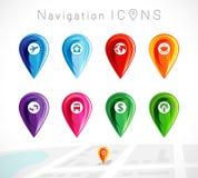 Icono de los indicadores del mapa coloreado Imagenes de archivo