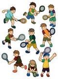 Icono de los jugadores de tenis de la historieta stock de ilustración