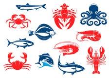 Icono de los mariscos fijado con los pescados y crustáceo libre illustration
