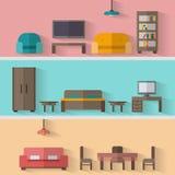 Icono de los muebles fijado para los cuartos de la casa Imagen de archivo