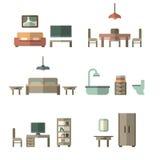 Icono de los muebles fijado para los cuartos de la casa Imagenes de archivo