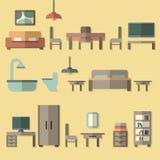 Icono de los muebles fijado para los cuartos de la casa Foto de archivo