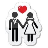 Icono de los pares de la boda como escritura de la etiqueta brillante Imagen de archivo libre de regalías