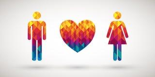 Icono de los pares del amor Foto de archivo libre de regalías