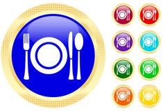 Icono de los platos y cubiertos en los botones Imagenes de archivo