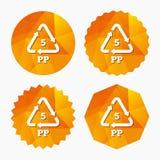Icono de los PP 5 Polímero termoplástico del polipropileno Foto de archivo