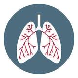 Icono de los pulmones del vector Símbolo de la atención sanitaria aislado en el fondo blanco Estilo plano Ejemplo para los Apps,  ilustración del vector