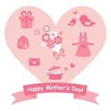 Icono de los regalos del día de madre con el corazón Fotos de archivo libres de regalías