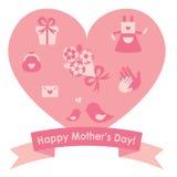 Icono de los regalos del día de madre con un corazón rosado Imagen de archivo
