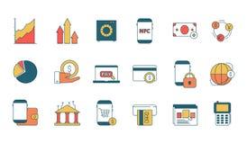 Icono de los servicios onlines de las finanzas E-actividades bancarias con símbolos lineares del vector del negocio de la web del libre illustration