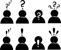 Icono de los signos de interrogación y de la marca de exclamación Imagen de archivo