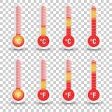 Icono de los termómetros de Celsius y de Fahrenheit con diversos niveles stock de ilustración