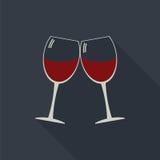 Icono de los vidrios del tintineo de las copas de vino Foto de archivo libre de regalías