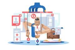 Icono de madera de la muñeca de la marioneta dependiente de Internet libre illustration