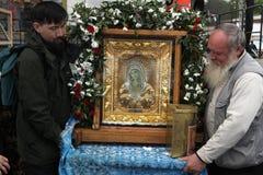 icono de Milagro-trabajo de la Virgen Eleusa Imagenes de archivo