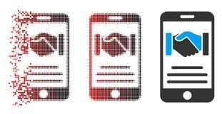 Icono de mudanza de Dot Halftone Mobile Agreement Handshake con la cara Ilustración del Vector