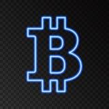 Icono de neón del bitcoin en fondo negro Foto de archivo libre de regalías
