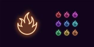 Icono de neón del fuego, llama Fije de muestra del fuego que brilla intensamente stock de ilustración