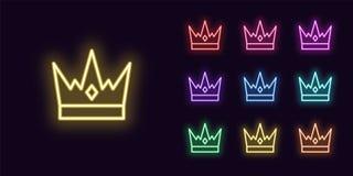 Icono de neón de la corona, muestra del rey Coronas reales que brillan intensamente ilustración del vector