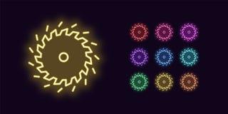 Icono de neón de la hoja de sierra, herramienta El brillar intensamente circular consideró stock de ilustración