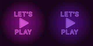 Icono de neón de la púrpura y de Violet Lets Play Imagenes de archivo