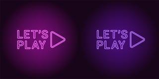 Icono de neón de la púrpura y de Violet Lets Play Imagen de archivo libre de regalías