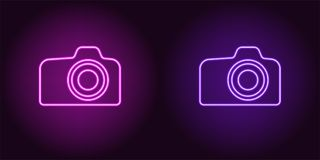 Icono de neón de la púrpura y de Violet Photo Camera libre illustration