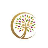 Icono de oro del árbol de la gente Foto de archivo libre de regalías