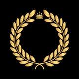 Icono de oro del laurel aislado en el fondo negro Arte del vector Diseño negro, oscuro Perfeccione para las invitaciones, tarjeta stock de ilustración