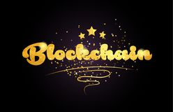 icono de oro del logotipo del texto de la palabra del color de la estrella del blockchain libre illustration
