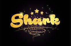 icono de oro del logotipo del texto de la palabra del color de la estrella del tiburón libre illustration