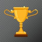 Icono de oro del trofeo del vector aislado en fondo Imagenes de archivo