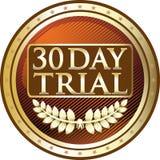 Icono de oro de ensayo de treinta días del emblema Ilustración del Vector