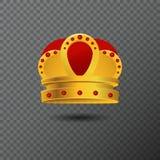 Icono de oro de la corona con las piedras rojas Ejemplo de lujo del vector Fotos de archivo