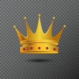 Icono de oro de la corona con las piedras rojas Ilustración del vector Foto de archivo libre de regalías