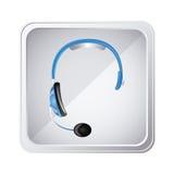 icono de plata del servicio del auricular del emblema Imágenes de archivo libres de regalías