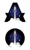 Icono de Rocket aislado en blanco stock de ilustración
