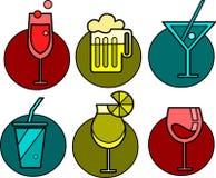 icono de seis bebidas con los fondos coloridos -2 Fotografía de archivo libre de regalías