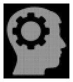 Icono de semitono blanco del engranaje del intelecto stock de ilustración